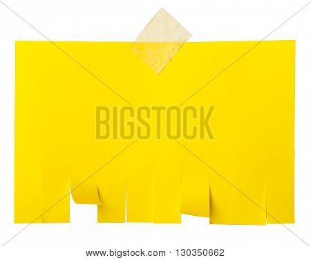 Yellow tear off paper notice with copy space for text isolated on white