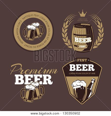 Beer icons, labels, signs for posters and banners. Beer fest, premium beer, label beer illustration, beer alcohol bottle. Vector set