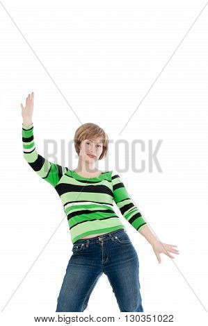 will wipe the beautiful woman to the utmost on a white background