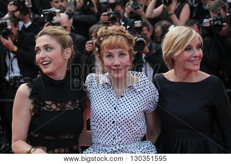 Julie Depardieu, Julie Gayet and Screenwriter Camille Moreau attend 'The Unknown Girl (La Fille Inconnue)' Premiere during the 69th Cannes Festival at the Palais on May 18, 2016 in Cannes, France.