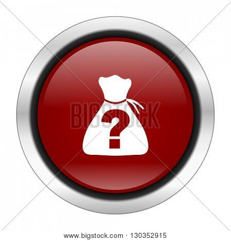 riddle icon, red round button isolated on white background, web design illustration