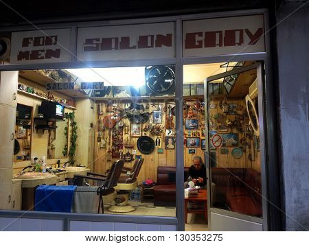 Beirut, Lebanon - January 12, 2016: Private Salon with its owner Gary in Beirut, Lebanon, typical street view.