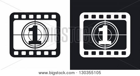 Vector film strip icon. Two-tone version on black and white background