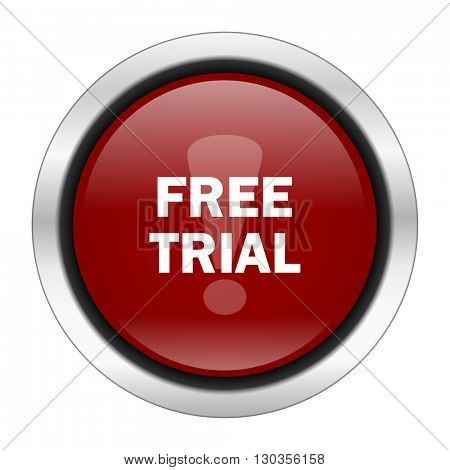 free trial icon, red round button isolated on white background, web design illustration