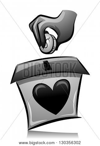 Illustration of a Man Dropping a Coin in a Donation Box