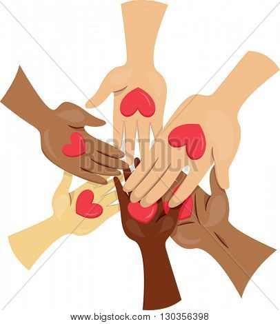 Illustration of People Joining Hands for a Cause poster