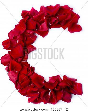 Alphabet C Made From Red Rose