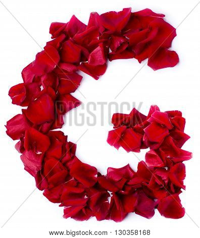 Alphabet G Made From Red Rose