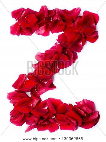 Alphabet Z Made From Red Rose