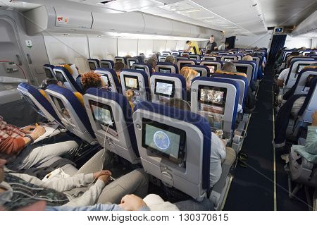 MIAMI UNITED STATES OF AMERICA - 25 APRIL 2016: Interior of an airplane on an intercontinental flight to America