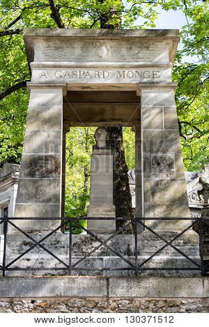Paris, France - May 2, 2016:  Gasbard Monge Grave In Pere-lachaise Cemetery Homeopaty Founder