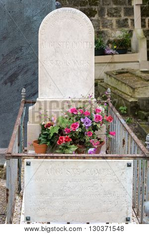 Paris, France - May 2, 2016: Auguste Comte Grave In Pere-lachaise Cemetery Homeopaty Founder