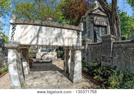 Paris, France - May 2, 2016: Moliere Grave In Pere-lachaise Cemetery Homeopaty Founder