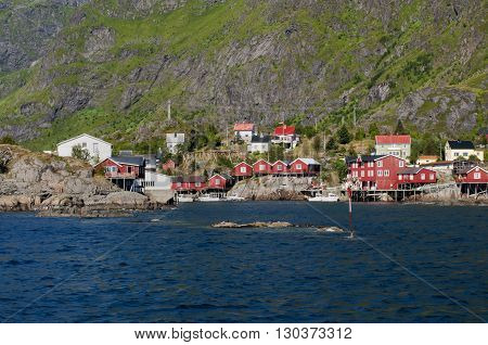 Red Houses Fisherman's Village Lofoten Island Norway