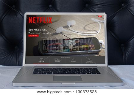 LONDON UNITED KINGDOM - June 02 2015: Netflix web page on laptop screen in the house bedroom. Netflix is a global provider of streaming movies and TV series.