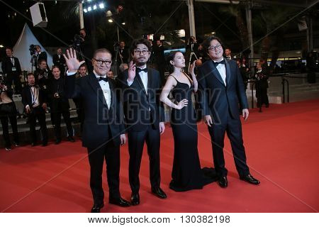 Kwak Do-won, Chun Woo-Hee, director Na Hong-Jin and actor Jun Kunimura attend 'The Strangers (Goksung)' Premiere during the 69th Cannes Film Festival at the Palais  on May 18, 2016 in Cannes, France.