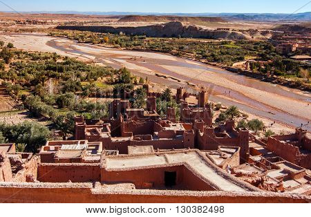 Ait Benhaddou Kasbah Morocco Look from fortified City