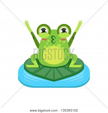 Cartoon Frog Character Cheering Flat Bright Color Vector Sticker Isolated On White Background In Simple Childish Style