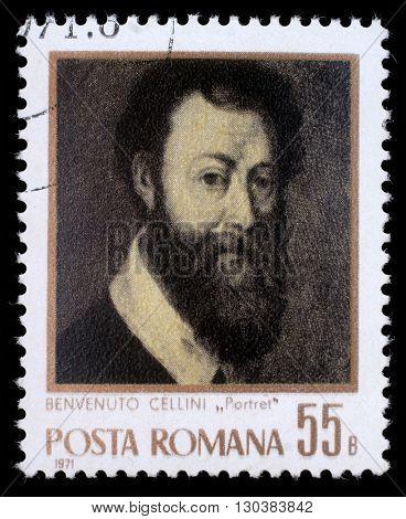 ZAGREB, CROATIA - JULY 19: stamp printed by Romania, show Benvenuto Cellini, circa 1971, on July 19, 2012, Zagreb, Croatia