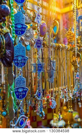TEL AVIV ISRAEL - FEBRUARY 25 2016: The hamsas and David's stars are the famous talismans in Middle Eastern culture on February 25 in Tel Aviv.