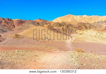 The Eilat mountains are famous for their bright colors and interesting shapes Israel.