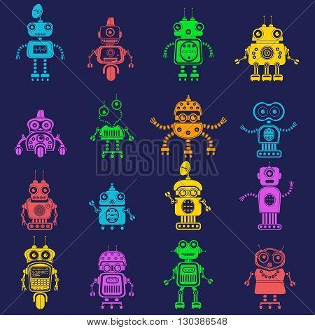 Vector set of retro robots in flat style, vintage cute robots. Toy robots vector