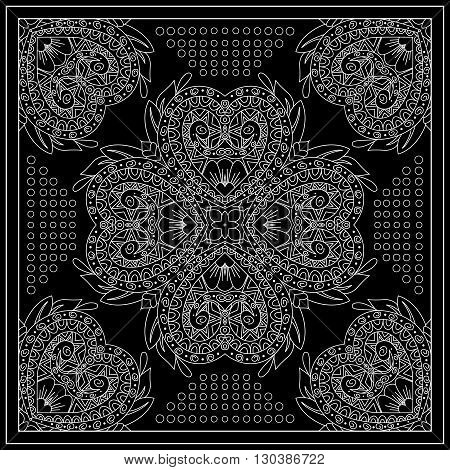 Black And White Abstract Bandana Print With  Abstract Ornament.   Kerchief Square Pattern Design. De