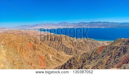 The scenic view on Aqaba Gulf from the peak of Zefahot Mount Eilat Israel.