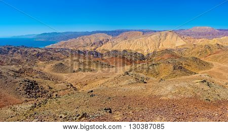 The Israeli Zefahot Mount overlooks Aqaba Gulf mountains of Jordan Egypt and Saudi Arabia.