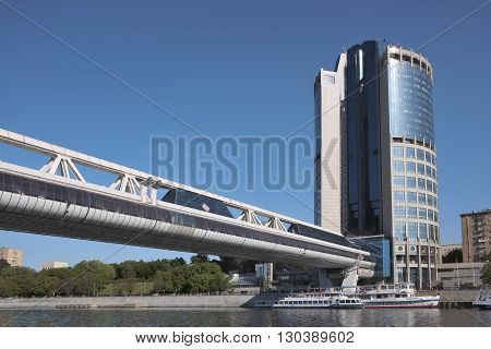 MOSCOW, RUSSIA - MAY 13, 2016: View of the bridge Bagration a marina and Tower 2000 Moscow International Business Center