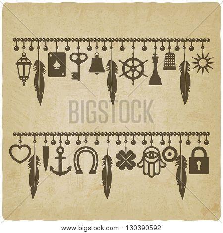 charm bracelets with symbols of good luck old background. vector illustration - eps 10