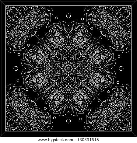 Black And White Abstract Bandana Print With Floral Ornament.   Kerchief Square Pattern Design. Desig