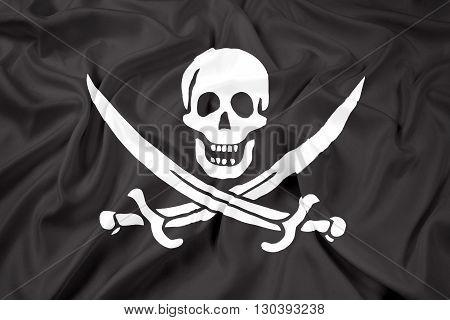 Waving Calico Jack Pirate Flag, with beautiful satin background