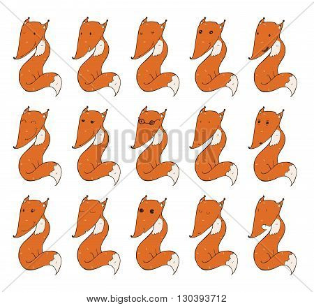 Set of cute foxes with different emotions on face. Happy funny tired lovely kind shoked. Vector illustration isolated on white background. Variations are hand drawn with imperfections