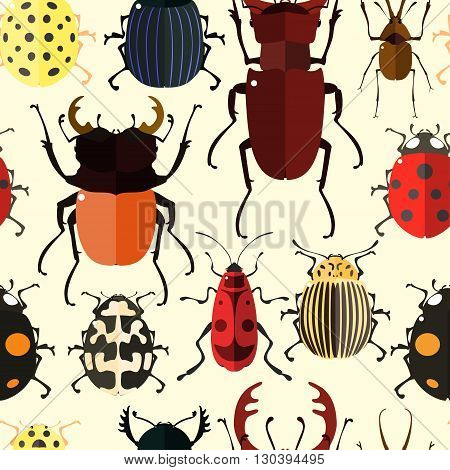 Seamless pattern with colorful insects. Bug wallpaper. Vector illustration for printing onto fabric.
