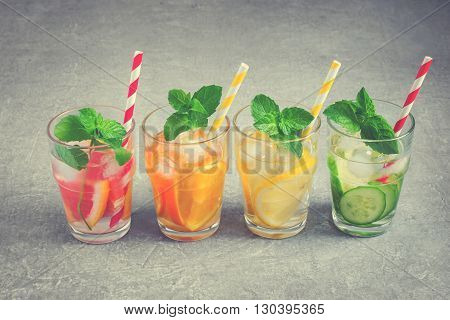 Refreshing summer drinks iced water and fruit. detox water. tinted