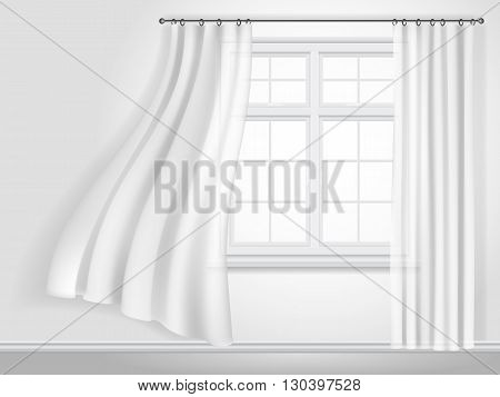 White fluttering curtains and window on white wall background. Fragment of the interior. Vector illustration.
