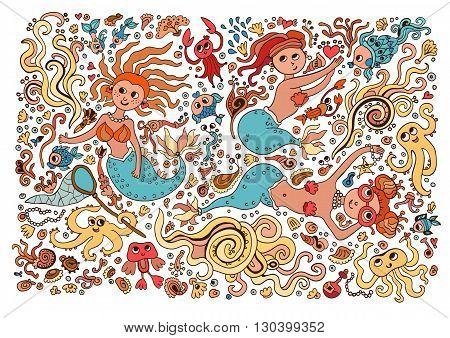 Colored Set of elements on the tropic sea life. Marine life: octopus, mermaid, pearls, fish, seaweed, mermaid, coral, shrimp.
