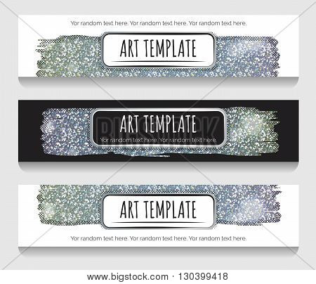 Modern eclectic holographic silver glitter banner ad header template. Vintage dotted shadows glamorous silver glitter texture minimalistic background and casual text.