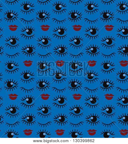 Eyes and lips  silhouette seamless pattern. Stylish trend design for surface