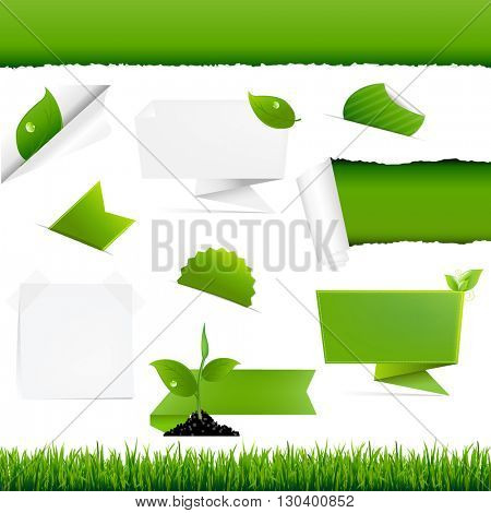 Ecology Green Set, With Gradient Mesh, Vector Illustration