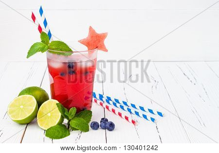 Watermelon blueberry mojito. Patriotic drink cocktail for 4th of July party
