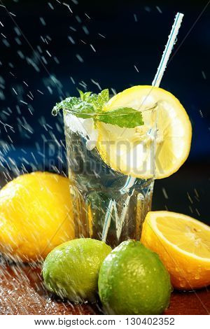 Fresh water with lemon, lime, mint and water splashes