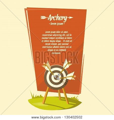 Vector illustration in cartoon style archery with a target and arrows suitable for the Background under the text. Illustration for advertising posters announcements.