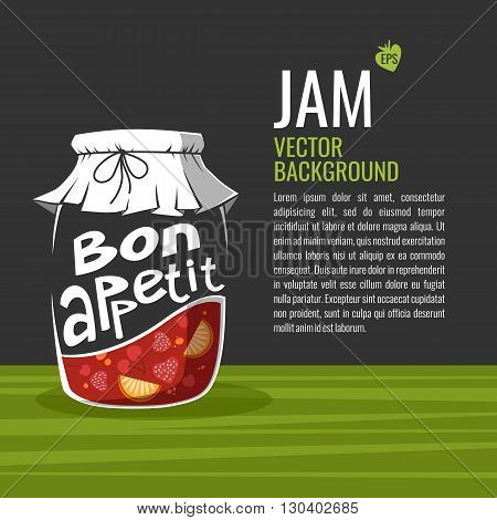 Vector illustration of glass jar fruit jam and Bon appetit text on a gray background suitable for flyer design menu and advertising