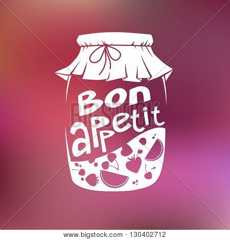 Vector illustration of glass jar of jam from fruits and berries and Bon appetit text on blurred pink background suitable for flyer design menu and advertising