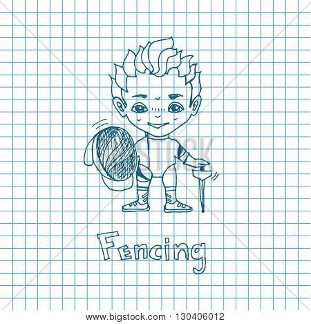 Vector sketch boy Fencer in chibi style