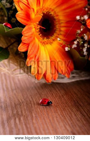 Small Wooden Ladybug In Front Of Bouquet Of Gerberas