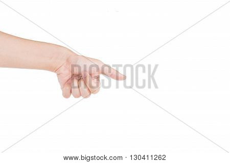 The man's hand touch something on whitebackground
