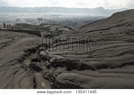 Black sand dune in Mount Bromo Volcano in East Java Indonesia. Bromo Tengger Semeru National Park East Java Indonesia